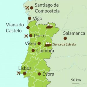 Map of North Portugal tours region
