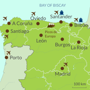 Map of North Spain Touring Region