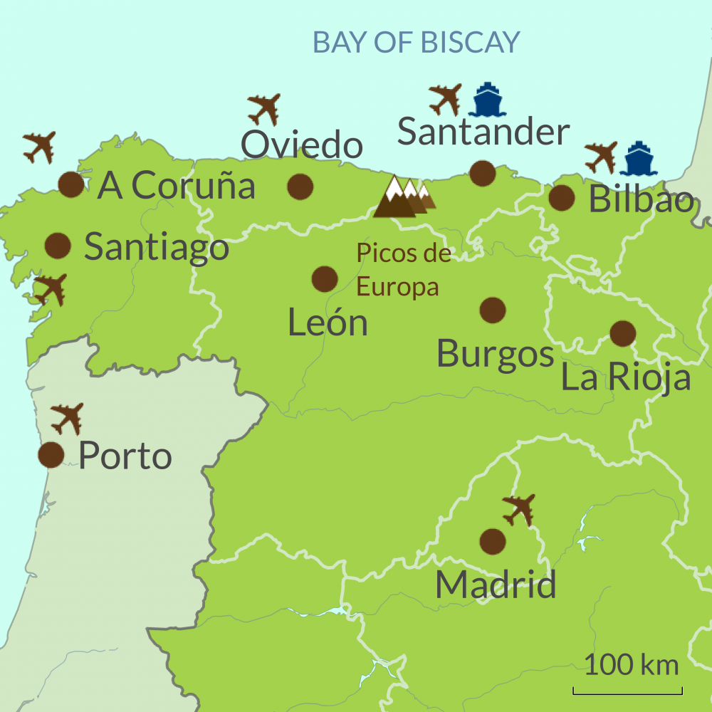 Map Of Spain La Coruna.Northern Spain Touring Holidays
