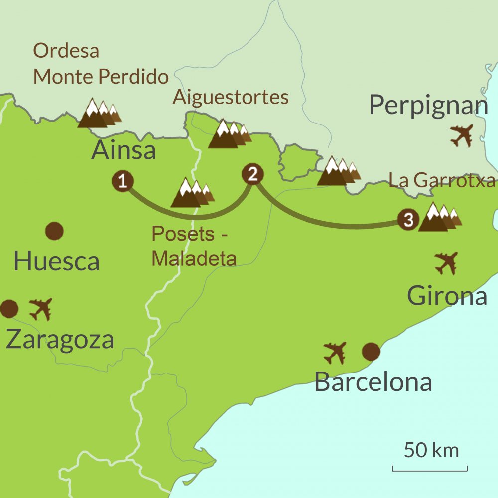 Detailed map of PC3 Eastern Pyrenees Tour