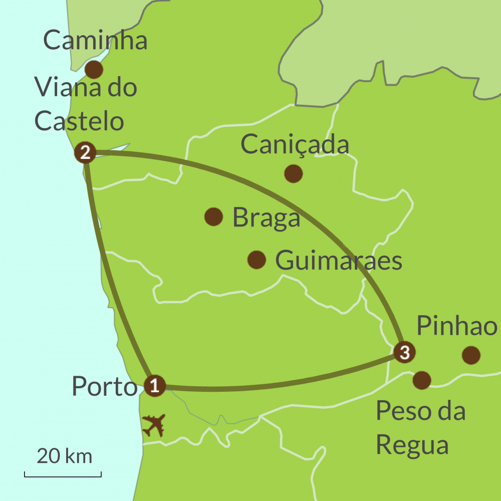 Detailed map of PO1 Taste of North Portugal Tour