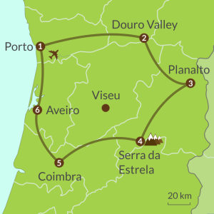 Detailed map of PO10 Porto Douro Valley and Las Beiras Tour