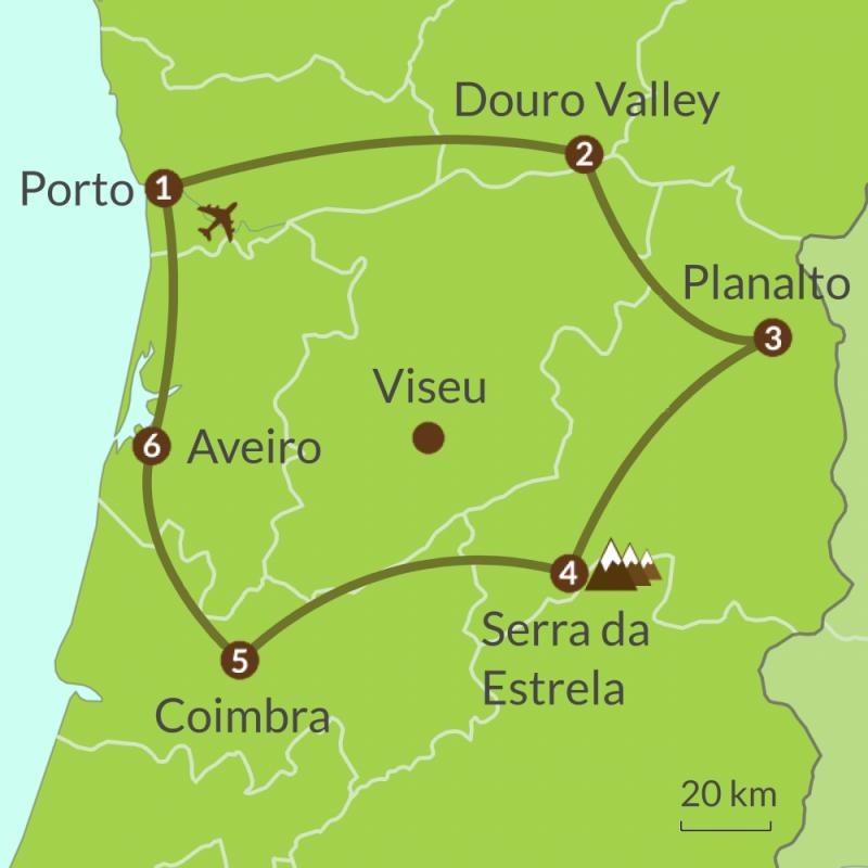 Detailed map of PO10 Porto Douro Valley and Las Beiras Tour