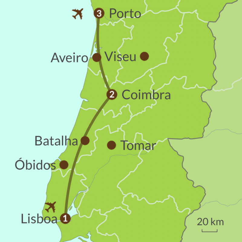 Detailed map of PO11 Cities of Portugal Tour