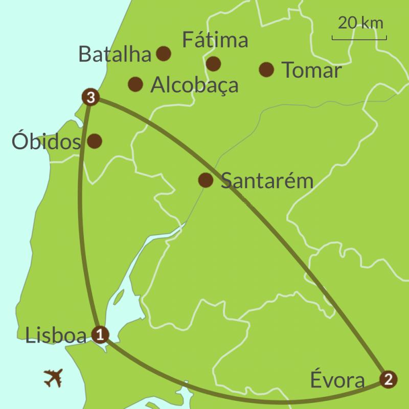 Detailed map of PO12 Lisboa Evora and Estremadura Tour