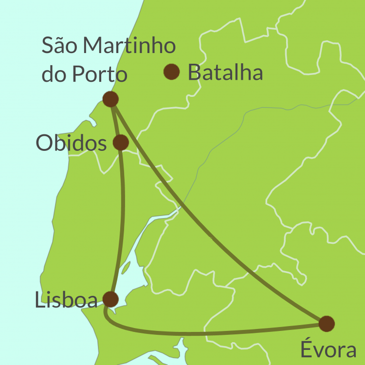 PO12 Small Map of Lisboa-Evora-Estremadura tour