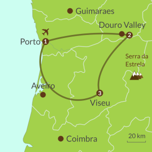 Detailed map of PO13 Porto Douro Valley and Dao Tour