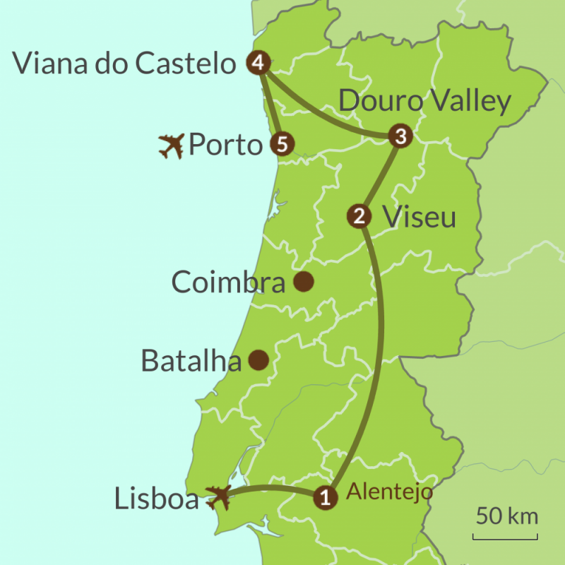 Detailed map of PO14 Wine Regions of Portugal Tour