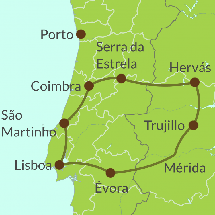 PO17 -Small Map of Cross-border tour Portugal and Spain