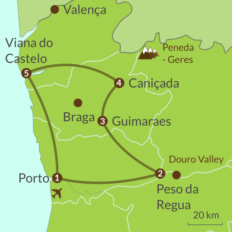 Detailed map of PO2 Round Tour of North Portugal