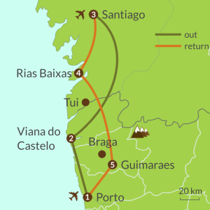 Detailed map of PO3 Camino Portugues from Porto Tour