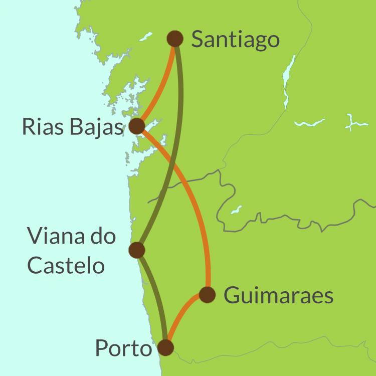 PO3 Small Map of Camino Portugues from Porto
