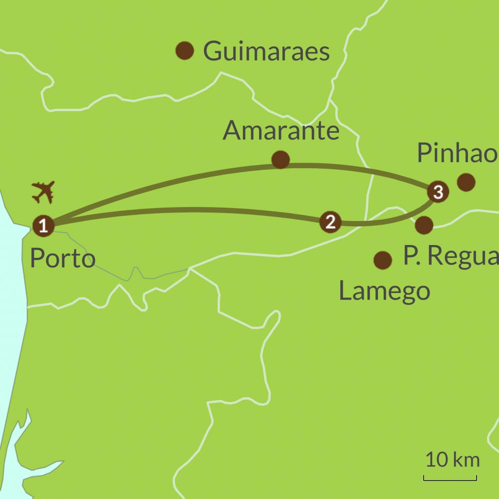 Detailed map of PO4 Porto and Douro Wine Valley Tour