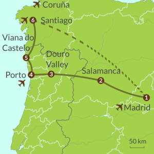 Detailed map of PO5 Madrid Porto Santiago Tour