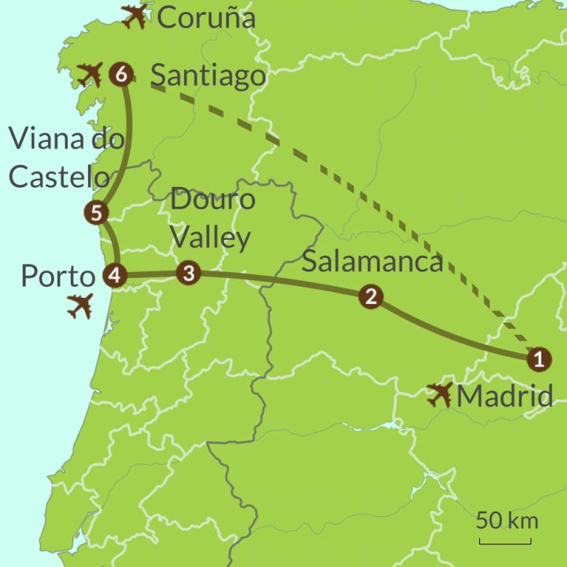 Detailed map of PO5 Madrid Porto Santiago Tour