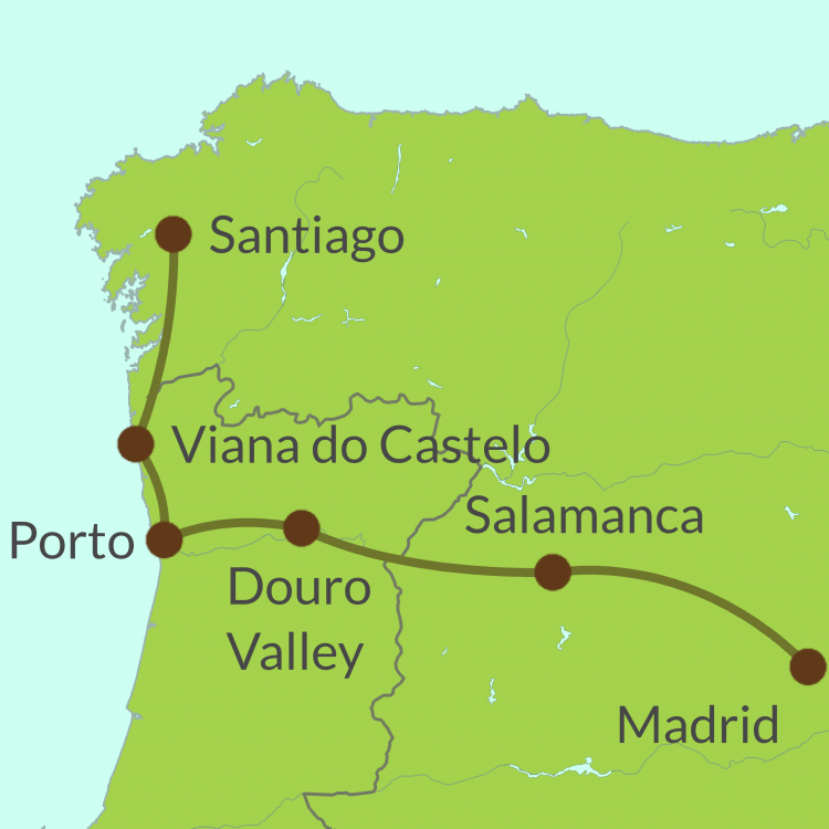 PO5 Small Map of Madrid to Santiago Tour
