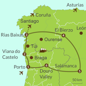 Detailed map of PO6 Cross Border Tour North Portugal and Spain