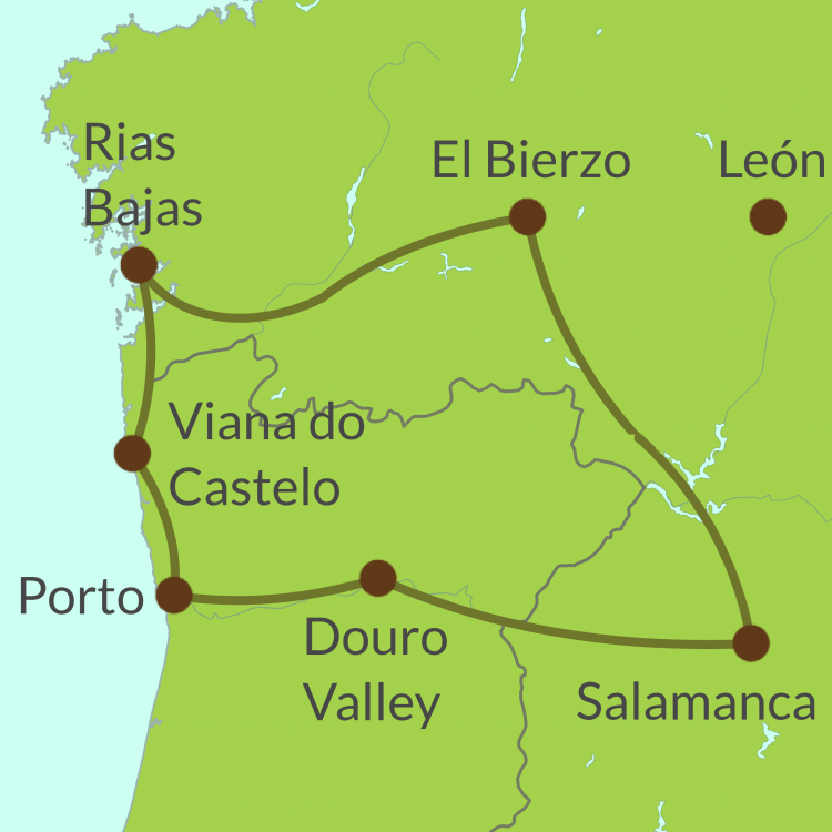 PO6 Small Map of Cross-Border northern tour - Spain and Portugal
