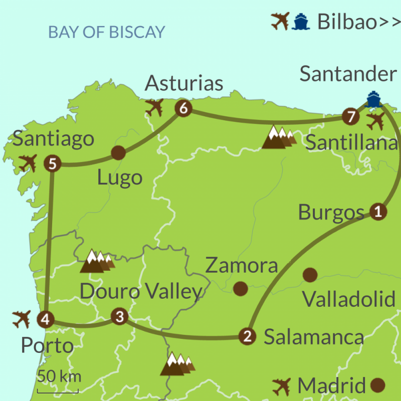 Detailed map of PO7 Santander to Porto Circular Tour