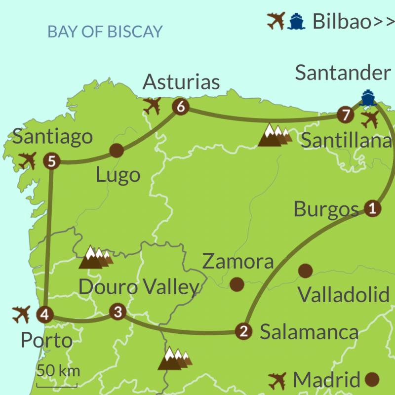 Detailed map of PO7 Santander to Porto Circular Tour