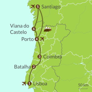 Detailed map of PO8 Camino Portugues from Lisboa Tour