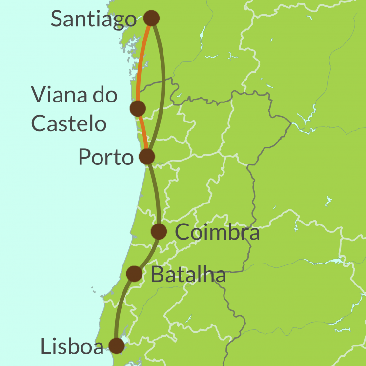 PO8 Small Map of Camino Portugues from Lisboa tour