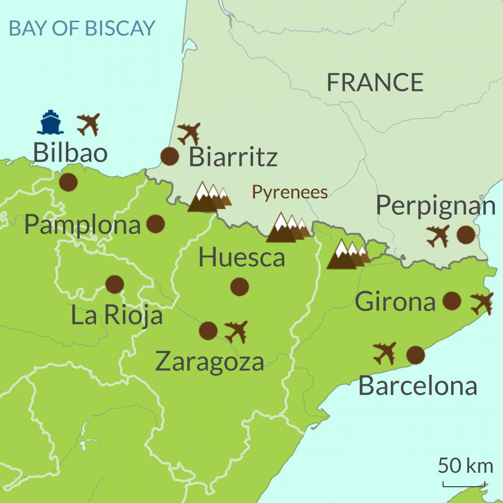 Bilbao On Map Of Spain.Spanish Pyrenees Touring Holidays