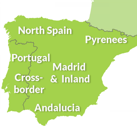 map of Spain and Portugal touring regions