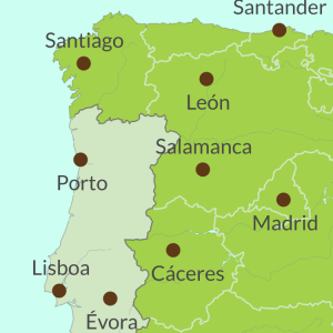 Map preview of Spain and Portugal Cross Border Tours