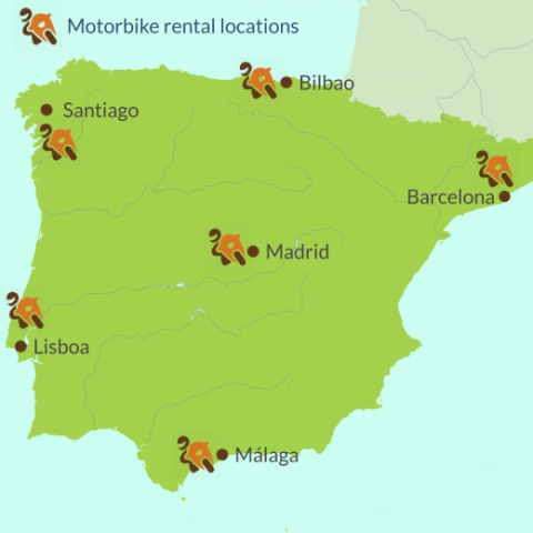 Map of motorbike rental locations in Spain and Portugal