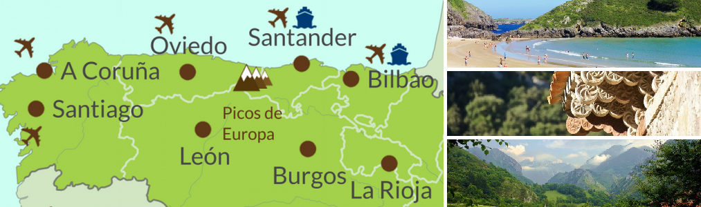 Map & photos of North Spain Touring Holidays