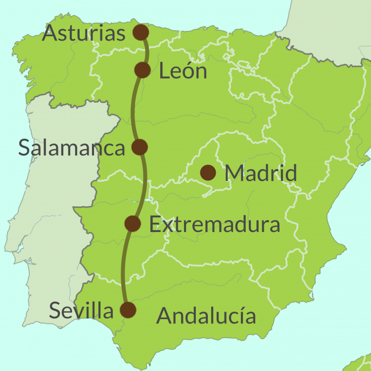 Map of Via de Plata Route