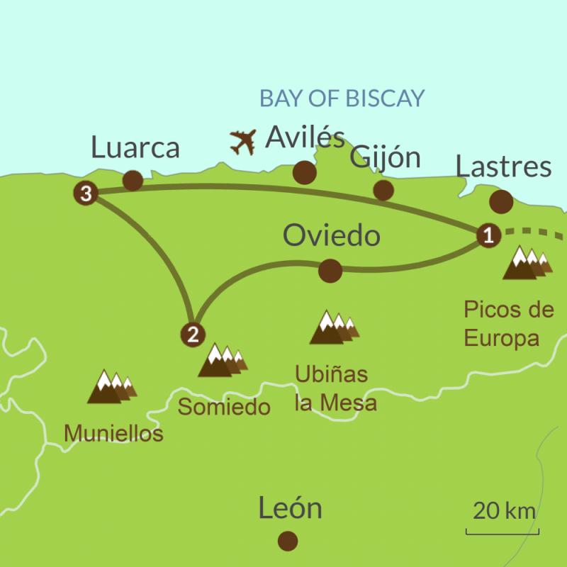 Map of Discover Asturias Tour
