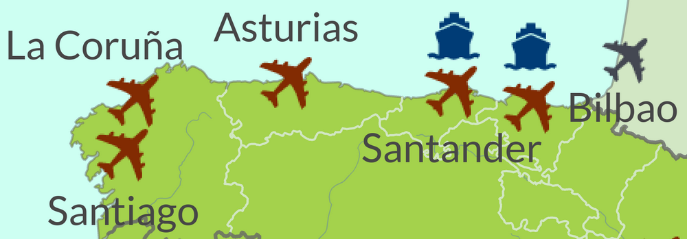 Map of How to get to North Spain