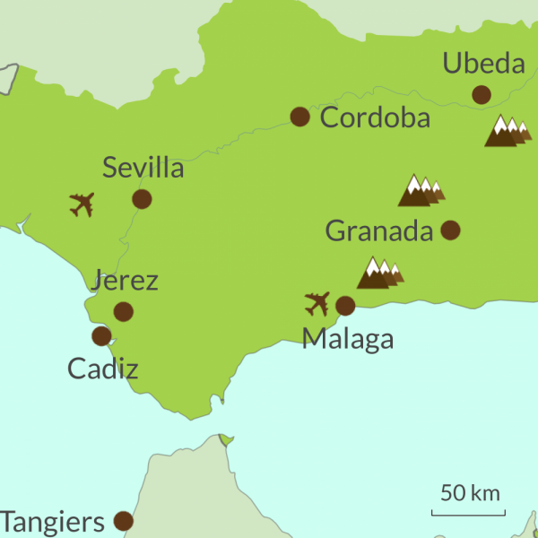 Map of Andalucian tours region