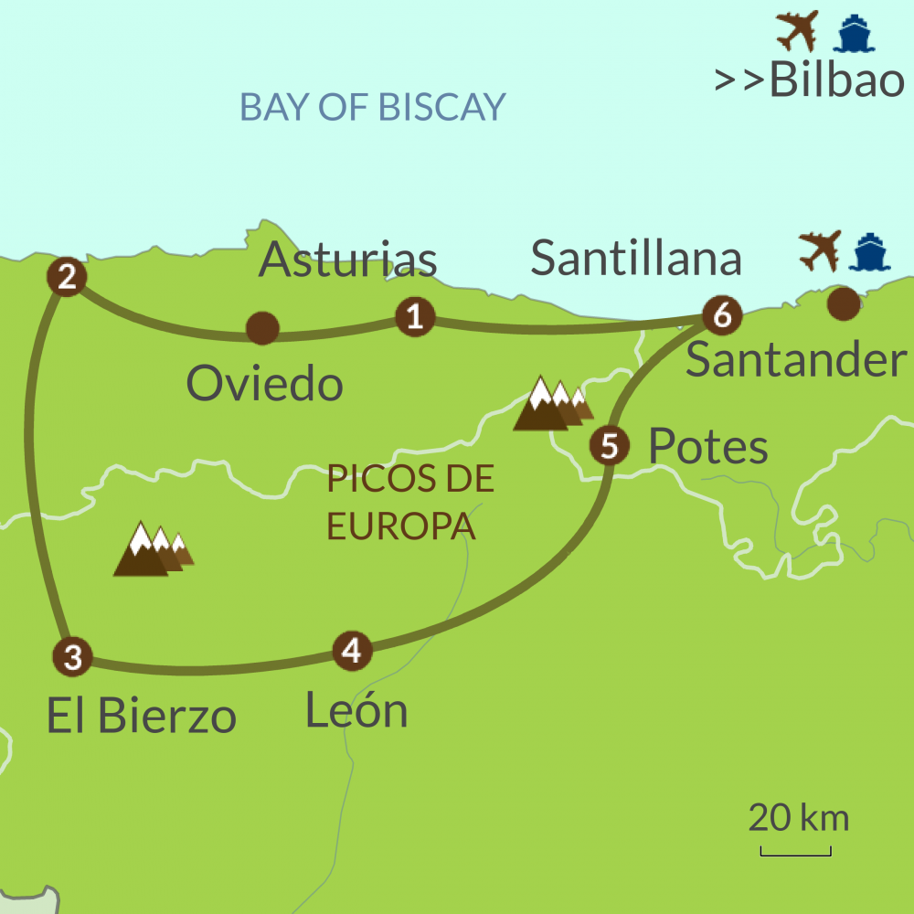 Coast Of Spain Map.Grand North Spain Tour Caminos Touring Holidays