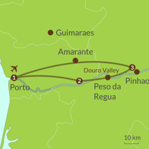 Detailed map of PO4 Porto and Douro Wine Valley Tour