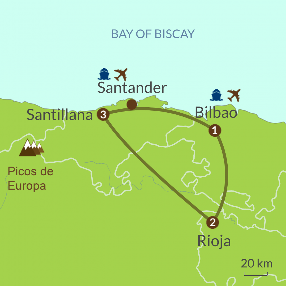Detailed map of NC3 Taste of North Spain Tour