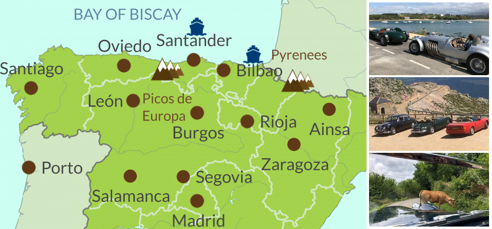 Map of Classic Car touring region of Spain & Portugal