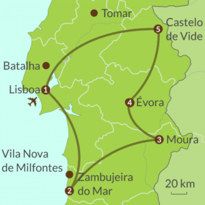 Map of Alentejo self-drive tour