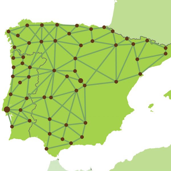 Map of hotels in Spain and Portugal